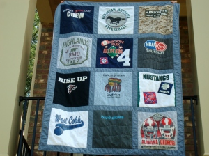 sports t-shirt quilt close-up