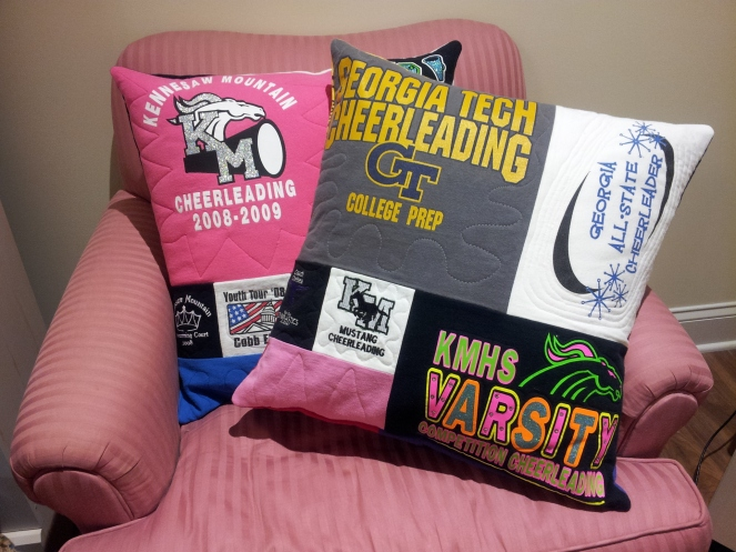 All Mixed Up (mosaic style) pillows made from t-shirts